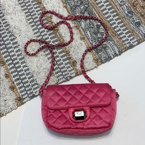 PINK Victorias Secret Hot Pink Quilted Chain Purse